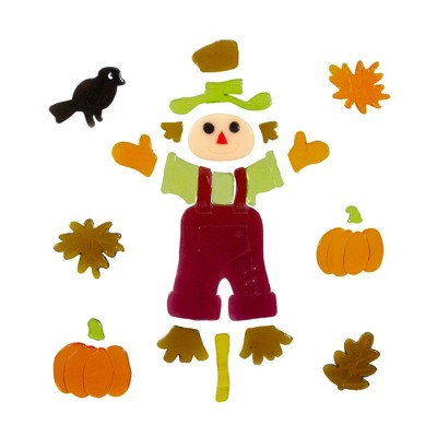 Northlight Scarecrow and Pumpkins Thanksgiving Gel Window Clings