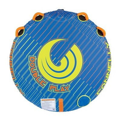 Connelly Double Play 60 Inch Diameter 2 Person Inflatable Platform Deck Boat Towable Lake Water Inner Tube, Blue and Orange