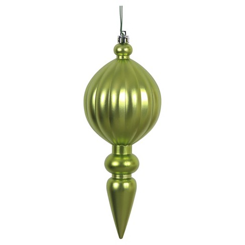 6ct Lime Matte Finial Drilled Christmas Ornament Set - image 1 of 1