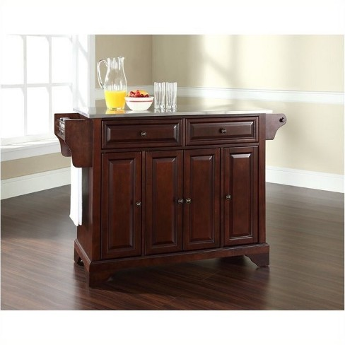 Wood Stainless Steel Top Kitchen Island in Mahogany Brown - Bowery Hill