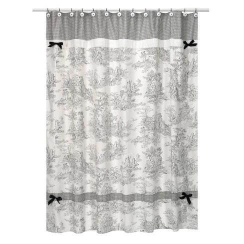 Toile Shower Curtain Black