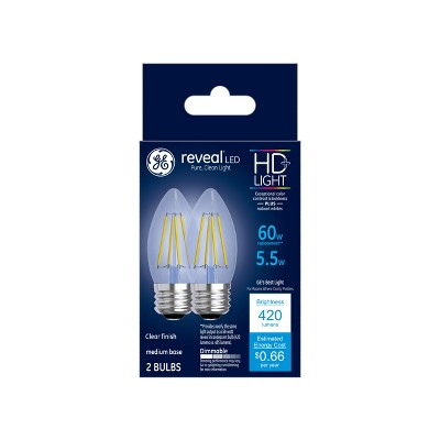 60W Reveal 2pk Deco Clear LED Light Bulb White - General Electric