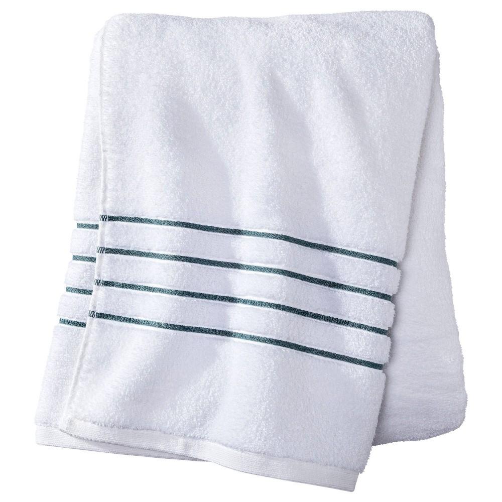 Bath Towel White Aqua Stripe Fieldcrest 8482