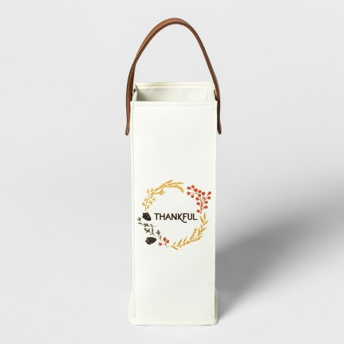 Thankful Canvas Wine Bag With Leather Handle White Brown Threshold