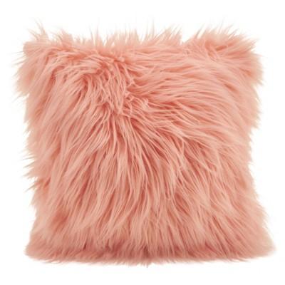 Poly Filled Long Hair Faux Fur Throw Pillow Rose - Saro Lifestyle