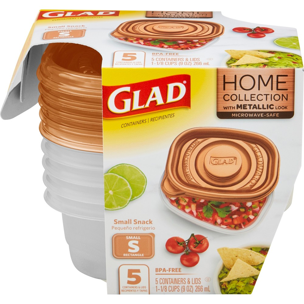 Glad Home Collection Small Snack Food Storage Containers - 9oz - 5ct, Clear
