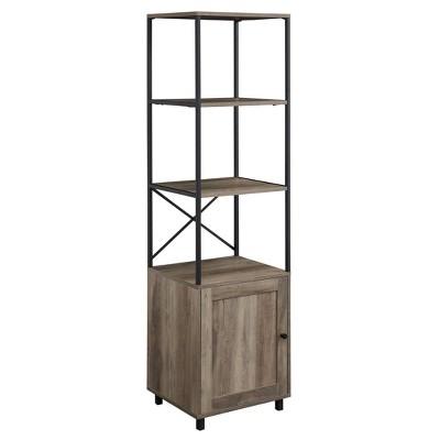 "64"" Industrial Farmhouse Storage Bookshelf with Cabinet - Saracina Home"