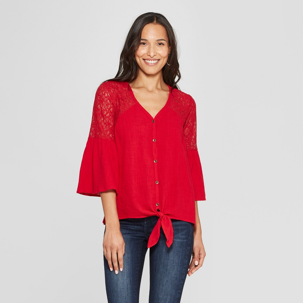 Women's Long Sleeve V-Neck Button-Down Top - Knox Rose Red M