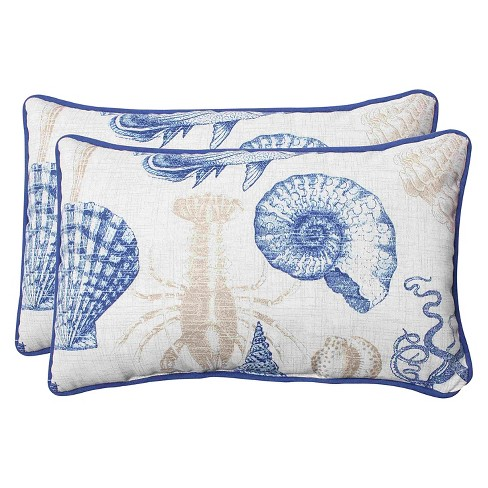 Outdoor 2 Piece Lumbar Throw Pillow Set Sealife Target