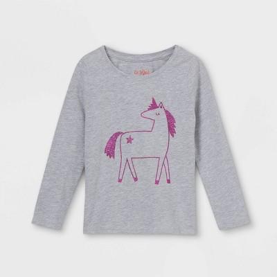 Toddler Girls' Sparkle Unicorn Long Sleeve Graphic T-Shirt - Cat & Jack™ Heather Gray