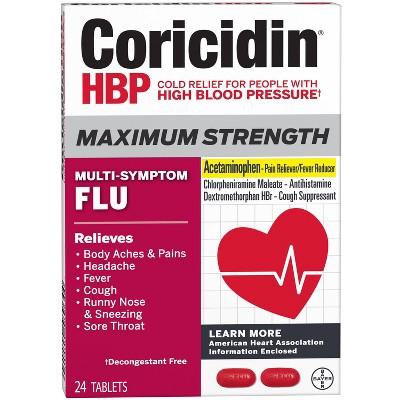Coricidin HBP Maximum Strength Multi-Symptom Flu Tablets - 24ct