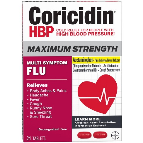 Coricidin HBP Maximum Strength Multi-Symptom Flu Tablets - 24ct - image 1 of 4