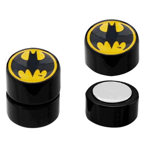 Women's DC Comics Batman Logo Acrylic and Stainless Steel Magnetic Earrings - Black - image 1 of 1