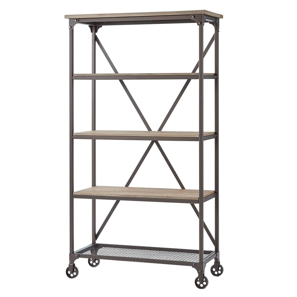 72.5 Chimney Hill Rustic Industrial Metal/Wood Etagere Bookcase Brown - Inspire Q