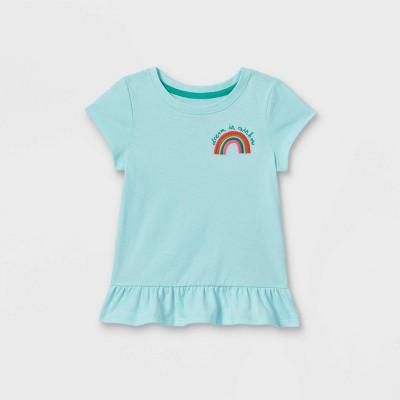 Toddler Girls' Rainbow Embroidered Peplum Short Sleeve T-Shirt - Cat & Jack™ Light Blue