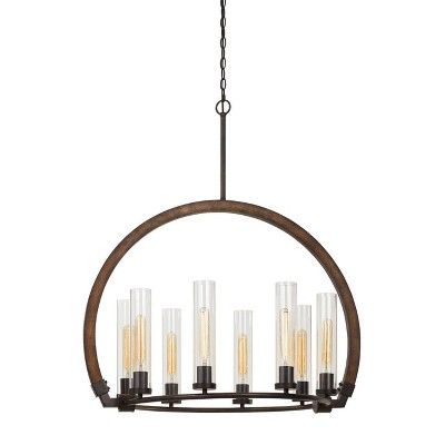 "32"" x 25"" x 37"" Sulmona Wood/Metal Chandelier with Glass Shade Oak/Iron - Cal Lighting"