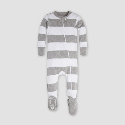 Burt's Bees Baby® Organic Cotton Rugby Stripe Sleeper - Heather Gray 3-6M