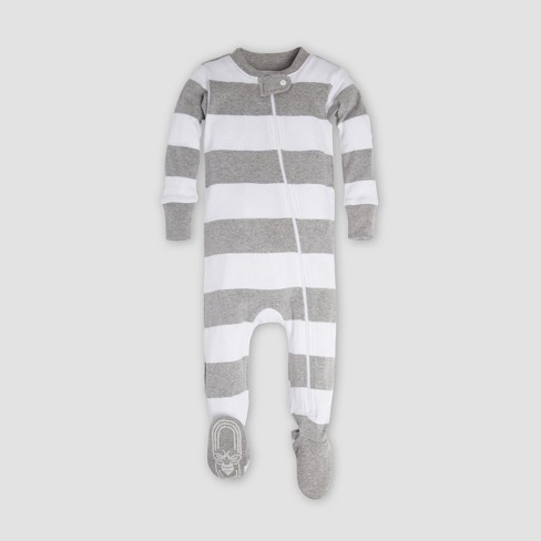 Burt s Bees Baby® Organic Cotton Rugby Stripe Sleeper - Heather Gray ... 95e2148a2