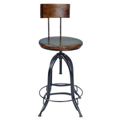 Wren Adjustable Stool with Back - Chestnut/Black - Carolina Chair and Table