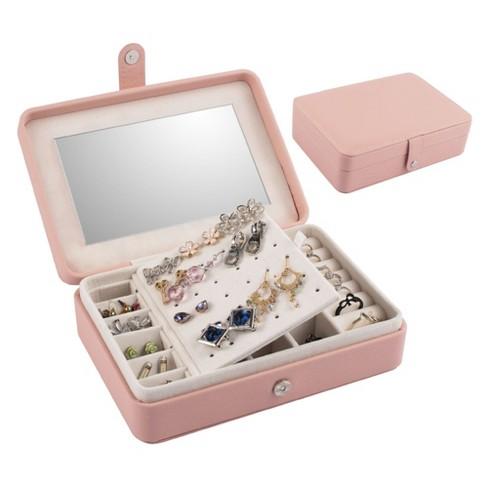 Pink Jewelry Travel Organizer Case With, Mirror With Jewelry Storage Target