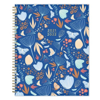 """2021-22 Academic Weekly/Monthly Planner 8.5"""" x 11"""" Floralfly Blue - Senn and Sons"""