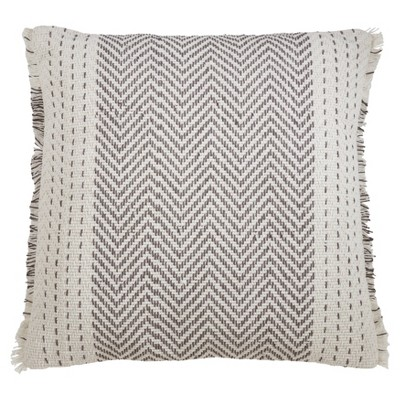 "22"" Kantha Stitch Pillow Cover Gray - SARO Lifestyle"