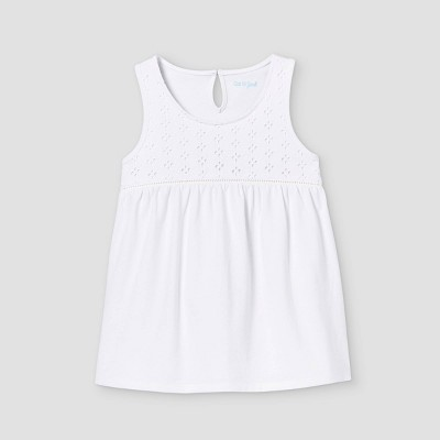 Girls' Knit Eyelet Tank Top - Cat & Jack™ White