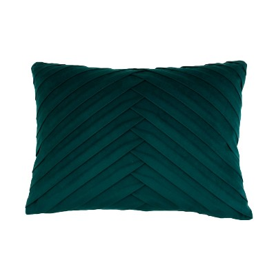 James Pleated Velvet Oversize Lumbar Throw Pillow Turquoise - Decor Therapy