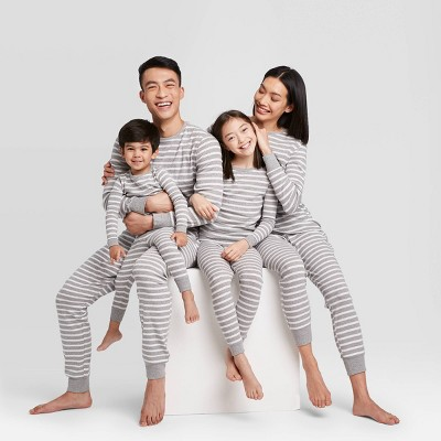 Gray Striped 100% Cotton Matching Family Pajamas Collection