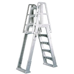 Vinyl Works SLA A Frame Above Ground Pool Ladder with Slide Lock Barrier, White