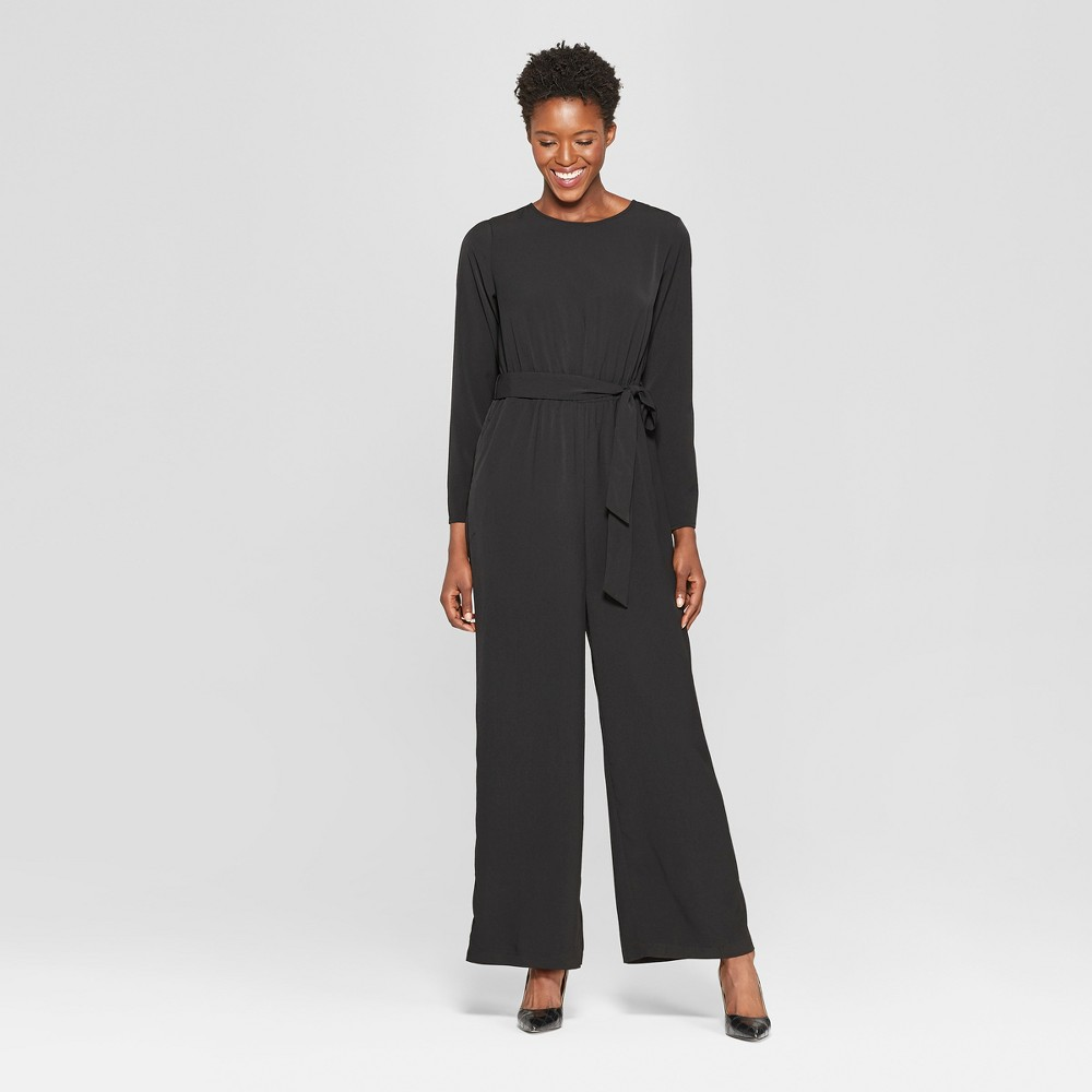 Women's Long Sleeve Crew Neck Jumpsuit - Who What Wear Black L