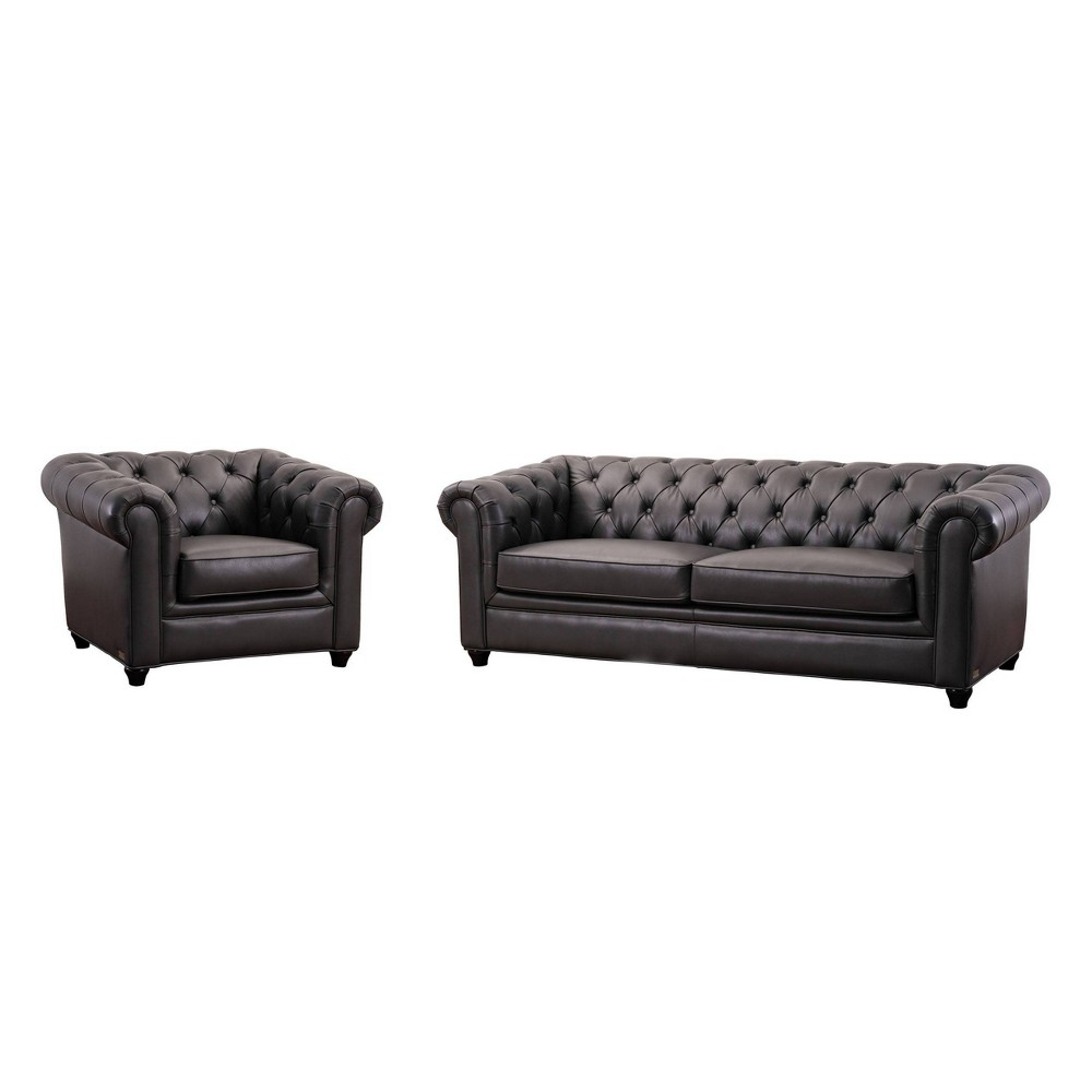 Image of 2pc Lincoln Tufted Chesterfield Sofa & Armchair Set Gray - Abbyson Living