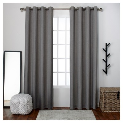 Loha Linen Window Curtain Panel Pair Black Pearl (54 x84 )- Exclusive Home™
