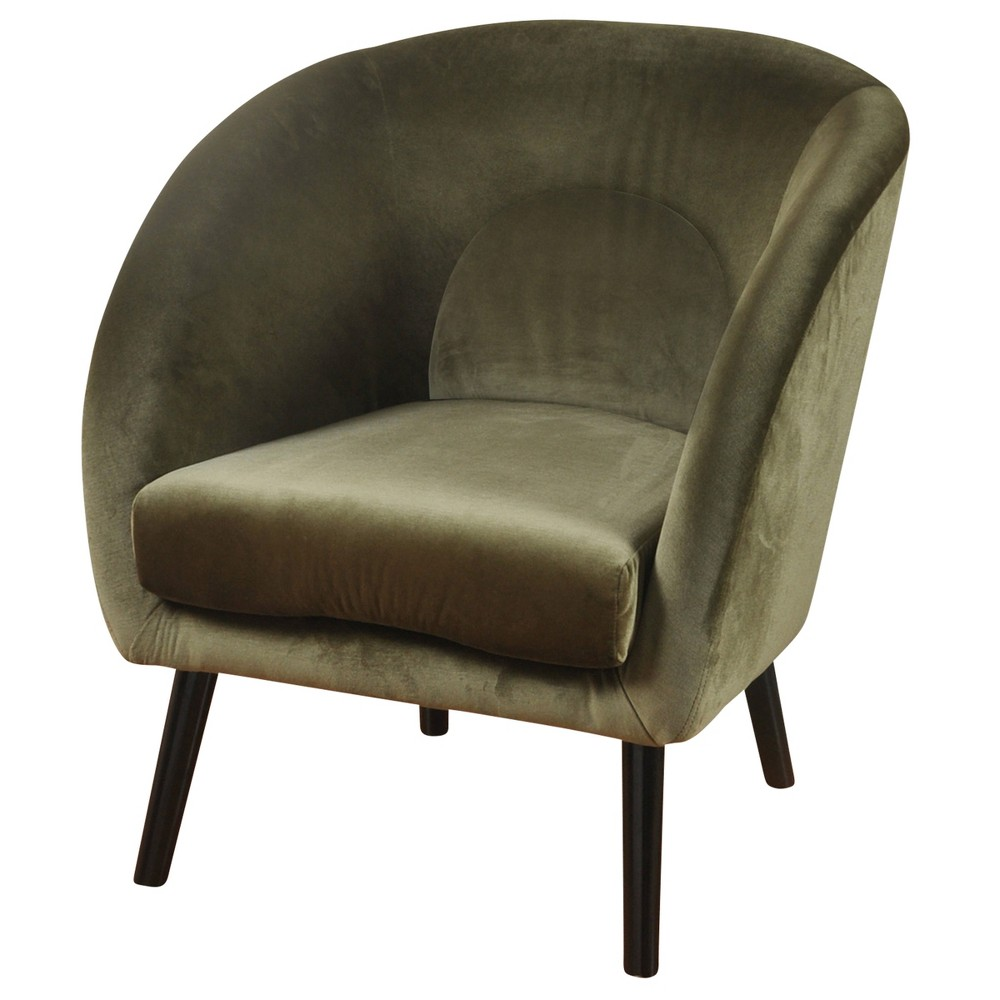 Barrel Back Velvet Lounge Chair Green - Stylecraft