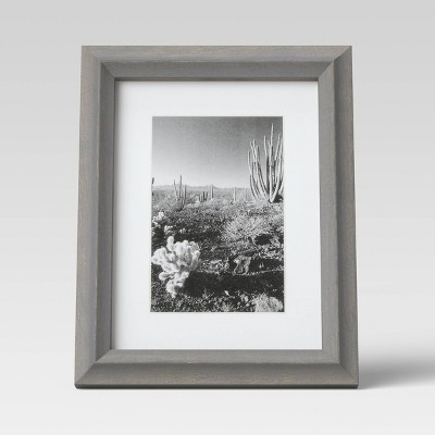 "6"" x 8"" Matted to 4"" x 6"" Wood Single Image Frame Gray - Threshold™"