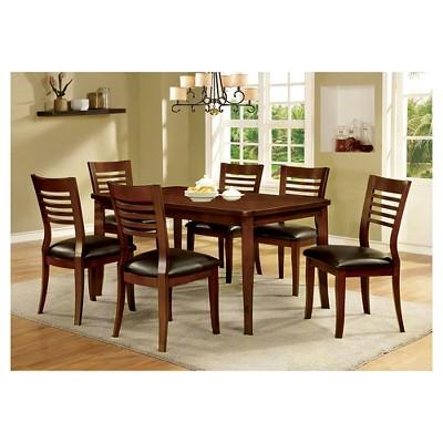7 Piece Simple Rectangular Dining Table Set With Wooden Seats/Medium ...
