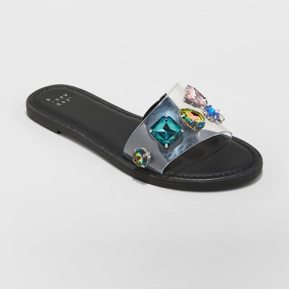 Women's Alana Gem Slide Sandals - A New Day Black 9
