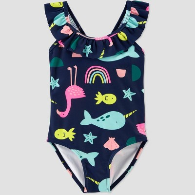 Baby Girls' Sea Animals Print One Piece Swimsuit - Just One You® made by carter's Navy