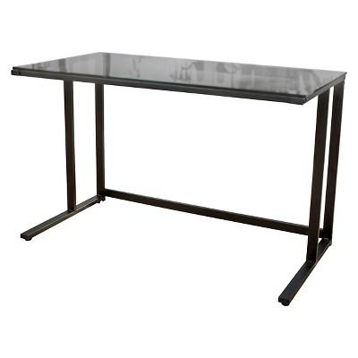 Eghan Glass Computer Desk Black - Christopher Knight Home