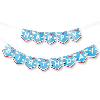 "5.5 x 6"" 1 Pack Airplane Happy Birthday Party Banner Garland Decorations for Kids Party Supplies Favors, with 12 Flags Each"