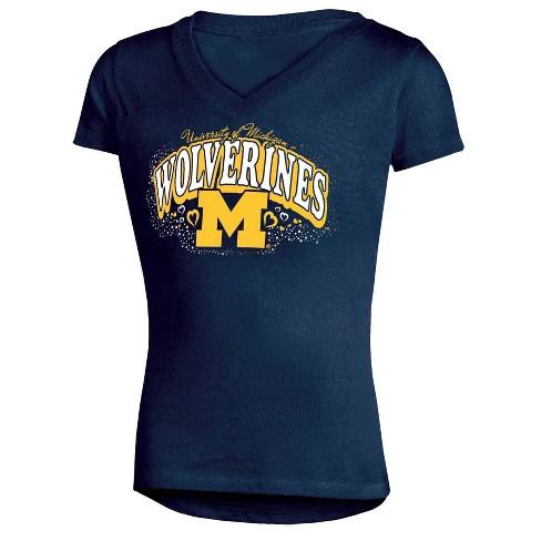 NCAA Michigan Wolverines Girls' V-Neck T-Shirt - image 1 of 1