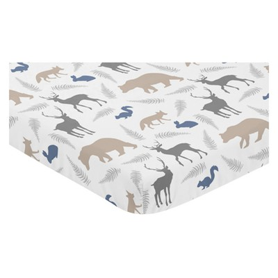 Sweet Jojo Designs Mini Fitted Sheet - Woodland Animals