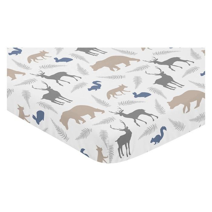 Sweet Jojo Designs Mini Fitted Sheet - Woodland Animals - image 1 of 1