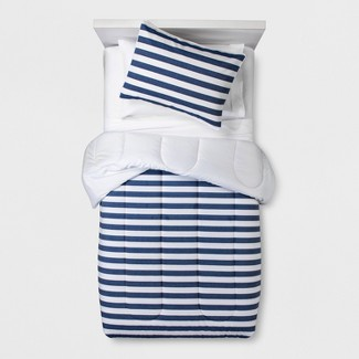 Full/Queen Chambray Stripe Comforter Set - Pillowfort™