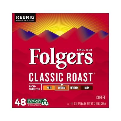 Folgers Classic Medium Roast Coffee Pods - 48ct