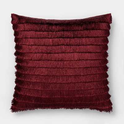 Fringe Square Throw Pillow Berry - Opalhouse™