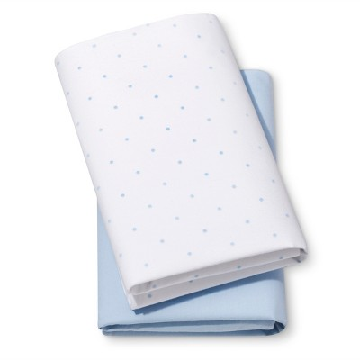 Fitted Bassinet Sheets Dots & Solid 2pk - Cloud Island™ Light Blue