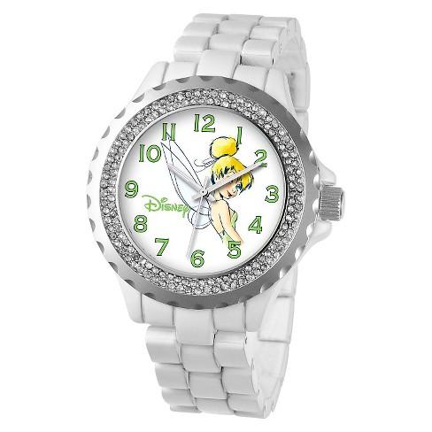 Girls' Disney Tinker Bell Enamel Sparkle Watch - White - image 1 of 2