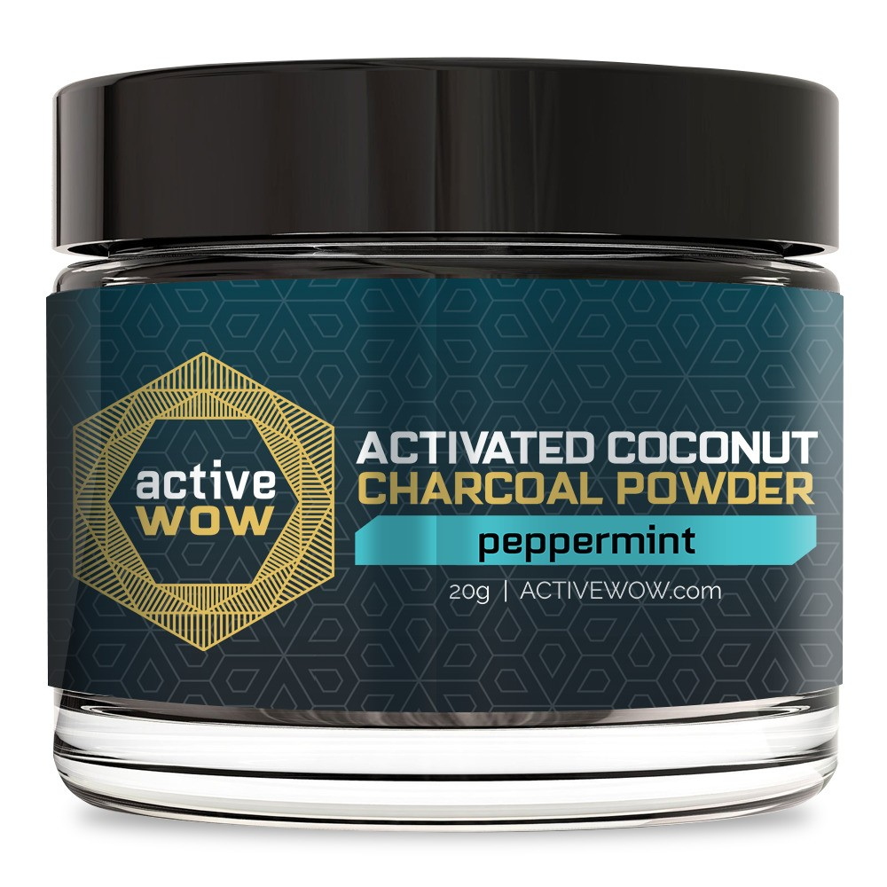 Active Wow Peppermint Charcoal Tooth Powder - 20g