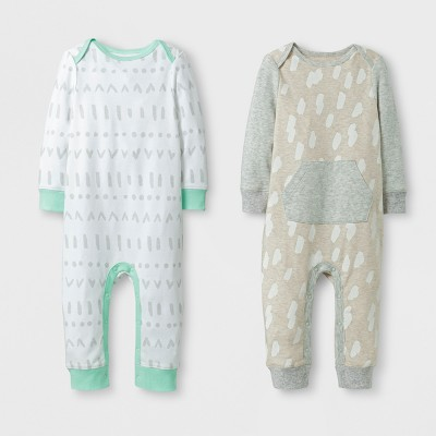 Baby 2pk Coverall Set Cloud Island™ - Mint/Oatmeal 3-6M